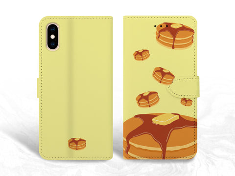 Pancake Breakfast PU Leather Wallet Cover Flip Case for iPhone XS Max, iPhone 11, Samsung S10e, Note 20, Google pixel 3a, Pixel 4, nexus 5X, OnePlus 6