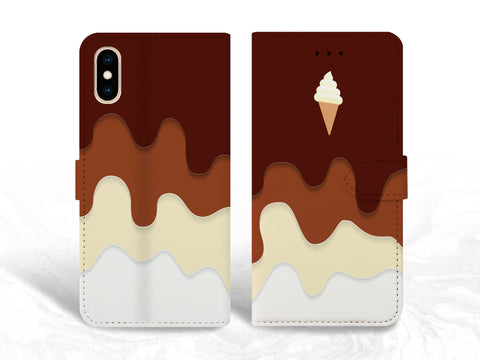 Chocolate Icecream PU Leather Wallet Cover Flip Case for iPhone XS Max, iPhone 11, Samsung S10e, Note 20, Google Pixel 3a, Pixel 5 XL, OnePlus 6, Nexus 5X