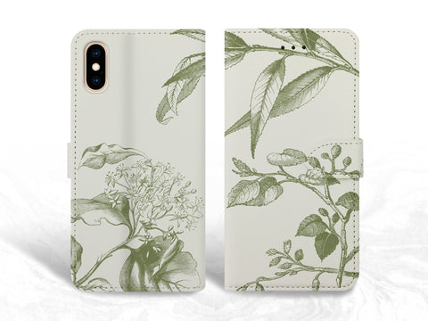 Vintage Plant Leaves PU Leather Wallet Cover Flip Case for iPhone XS Max, iPhone 11, Samsung S10, note 20 Ultra, Google Pixel 4a, OnePlus 6