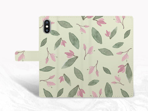 Watercolor Painting Style Plant PU Leather Wallet Cover Flip Case for iPhone 11, Samsung S10, Note 20 Ultra, Google Pixel 3, Pixel 5, LG G8, Nexus 5X