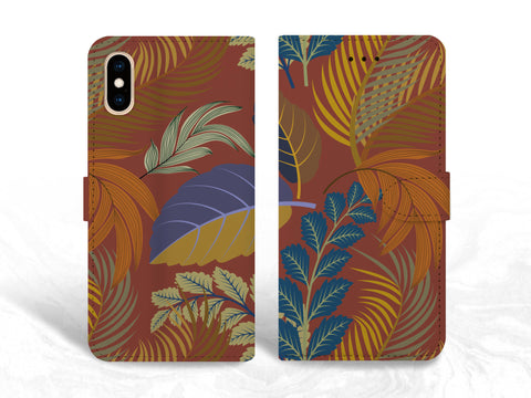 Colorful Leaves PU Leather Wallet Cover Flip Case for iPhone XR, iPhone 11, Samsung S10e, S9 Plus, Note 20 Ultra, Google Pixel 3a, LG G8, OnePlus 6