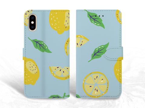 Lemon Pattern PU Leather Wallet Cover Flip Case for iPhone 11, Samsung S20 Plus, Note 20, Google Pixel 3a XL, OnePlus 6, Nexus 5X
