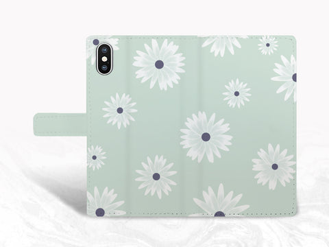 Mint Floral Pattern PU Leather Wallet Cover Flip Case for iPhone 11 Pro, iPhone XR, Samsung S10e, note 20 Ultra, Google pixel 3a, Pixel 4 XL, LG G8