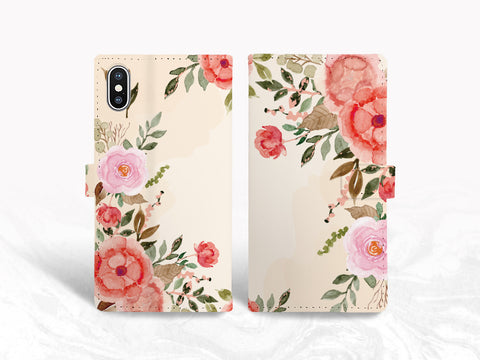 Colorful Floral Flowers PU Leather Wallet Cover Flip Case for iPhone 11, iPhone XR, Samsung S10 Plus, Note 20, Google Pixel 4, LG G8, OnePlus 6