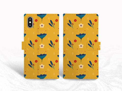 Colorful Floral Pattern PU Leather Wallet Cover Flip Case for iPhone 11, iPhone XR, Samsung S20, note 20, Google pixel 4 XL, OnePlus 6, LG G7, Nexus 5X