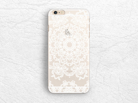White Mandala clear transparent phone case for iPhone 7 Plus, iPhone 6s, Nexus 6P, Google Pixel, HTC one M9, LG G6, Samsung S8 Plus floral case -P30