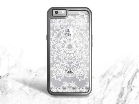 iPhone 8 iPhone 7 Protective Case, White Mandala Pattern Case for iPhone 7 Plus, iPhone 8 Plus, iPhone 6 Interchangeable backplate case