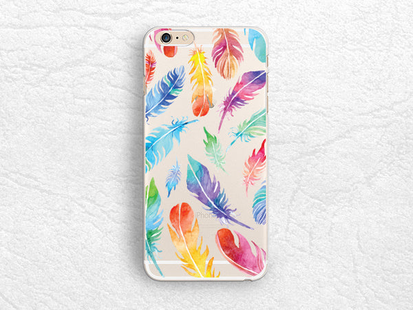 colorful feathers matte transparent phone case for iphone