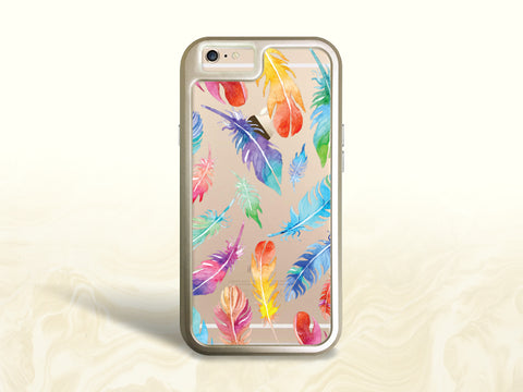 iPhone 8, iPhone 7 Protective Case, Colorful Feathers Tough Case for iPhone 7 Plus, iPhone 8 Plus, iPhone 6s Interchangeable backplate cases