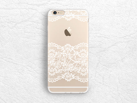 White Lace pattern Elegant transparent phone case for iPhone 7, Sony z5 compact, LG G6, Nexus 5X, HTC One M9, Samsung S8, Google Pixel -P80