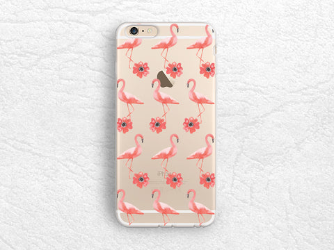 Flamingo Floral pattern transparent phone case for iPhone 7, iPhone SE, LG G6, Nexus 5X, Samsung S8, Sony Z5 compact, HTC One M9 M8 -P87