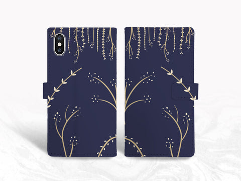 Navy Blue Vintage Floral PU Leather Wallet Cover Flip Case for iPhone 11, Samsung S10 Plus, note 20, Google pixel 3a, pixel 4 XL, OnePlus 6