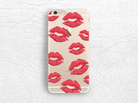 Kisses Lips transparent clear phone case for iPhone 7, Samsung S8, S7 Edge, LG G6, Nexus 5X, Sony z5 compact, HTC One M9, Google Pixel -P96
