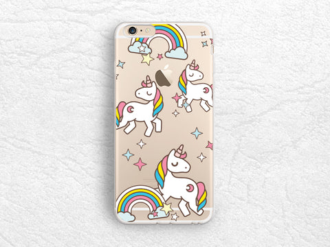 Unicorn Rainbow transparent clear phone case for iPhone 7 Plus, Samsung S8, Google Pixel XL, LG G5, Nexus 5X, Nexus 6P, Sony Xperia XZ -P97