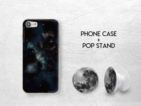 Full Moon Pop Stand with Space Galaxy Sky Phone case | Pop Stand with car mount car holder | Expanding Phone Stand Grip | Earphone holder