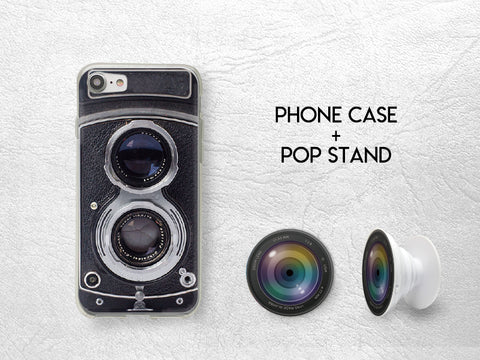 Vintage Camera Lens Pop Stand with Phone case | Pop Stand with car mount car holder | Expanding Phone Stand Grip | Earphone holder