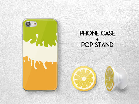 Cute Lemon Pop Stand with Summer Colorful Phone case | Pop Stand with car mount car holder | Expanding Phone Stand Grip | Earphone holder