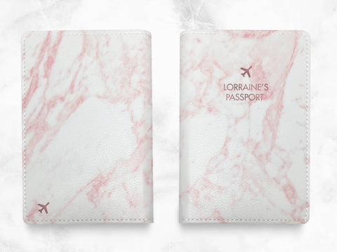Pink Marble Print - Custom Personalized PU leather Passport Holder travel wallet travel holder travel accessories w/ FREE name monogram -T03