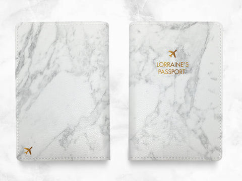 Gray Marble Print - Custom Personalized PU leather Passport Holder travel wallet travel holder travel accessories w/ FREE name monogram -T03
