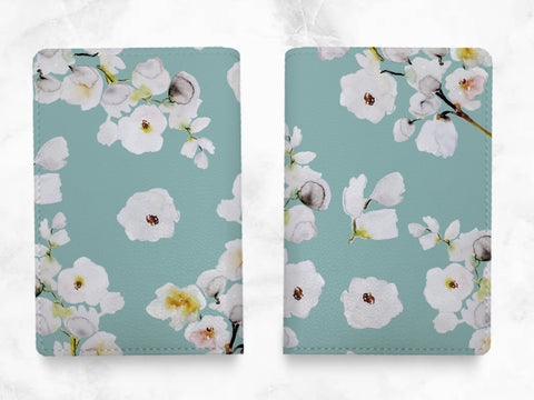 Blue Floral Pattern - PU leather Passport Holder - travel wallet travel holder travel accessories - passport case - flowers print - T04