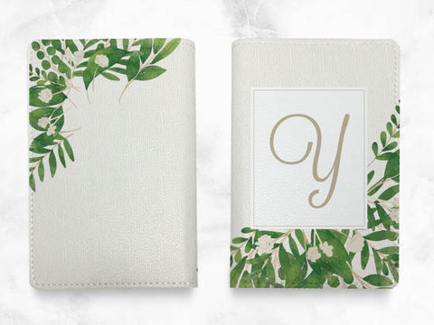 Green Leaves - Custom Personalized PU leather Passport Holder travel wallet travel holder - travel accessories with FREE name monogram -T08