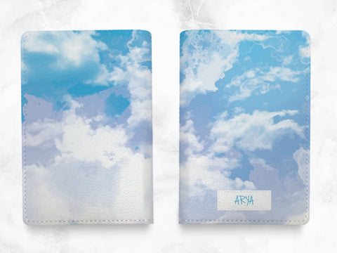 Blue Sky - Custom Personalized PU leather Passport Holder travel wallet travel holder - travel gifts, accessories w/ FREE name monogram -T09