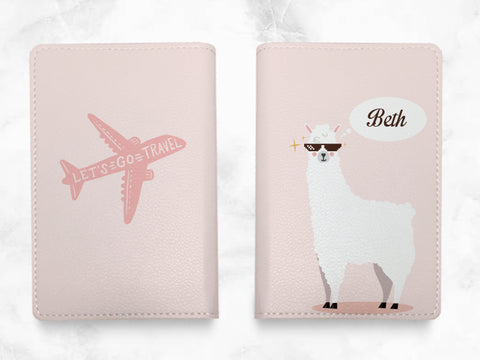 Cute Alpaca - Custom Personalized PU leather Passport Holder travel wallet travel holder - travel accessories with FREE name monogram -T10