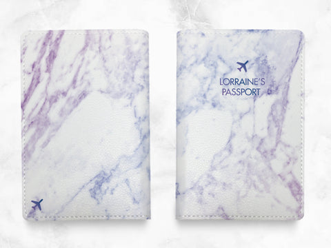Violet Marble Print - Custom Personalized PU leather Passport Holder travel wallet travel holder travel accessories w/FREE name monogram -T03