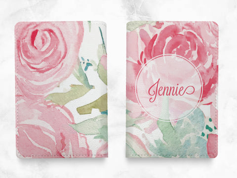 Pink Floral Pattern - Custom Personalised pu leather Passport Holder travel wallet travel holder travel accessories - w/ FREE name monogram -X34