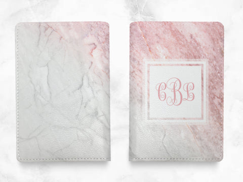 Pink Gray Marble Print - Custom Personalised PU leather Passport Holder travel wallet travel holder travel accessories w/ FREE monogram -X30