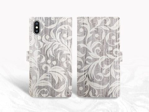 Vintage Floral Wood print PU Leather Wallet Cover Flip case for iPhone XS Max, iPhone 11, Samsung S20 plus, Note 10 Plus, Google Pixel 4 XL, Pixel 5 XL, LG V40