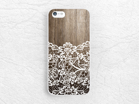 Vintage Lace Floral pattern Wood print phone case for iPhone 7, iPhone X, LG G6, Nexus 5X, Samsung S8 Plus, Note 5, Google Pixel 2, HTC One M9 -S18