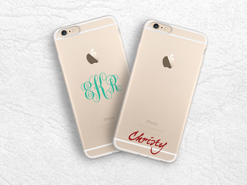 new style fee87 dcdf9 iPhone 7, iPhone 6s plus transparent soft case monogram personalized ...