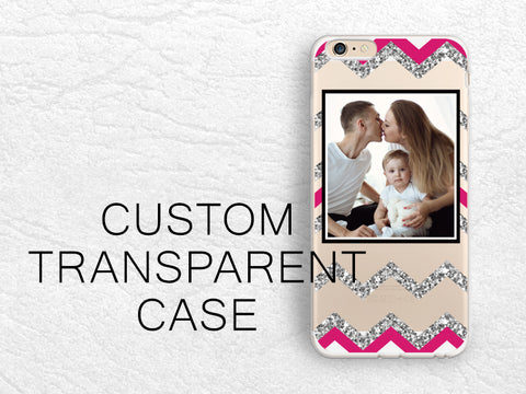 Custom Photo transparent case for iPhone X, iPhone 8, Samsung S8, LG G6, Nexus 5X, Google Pixel 2 XL, Chevron clear cover w/personalized design