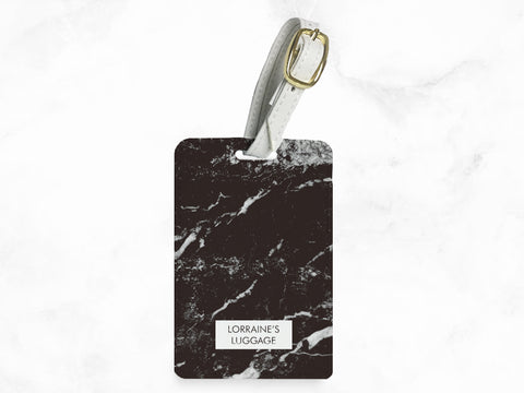 Black Marble Print - luggage tag, travel bag tag, name tag, office tag with strap - travel accessories gifts - w/ FREE custom name monogram -T02