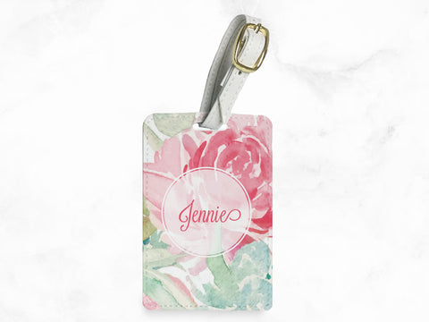Pink Floral Pattern - luggage tag, travel bag tag, name tag, office tag with straps - travel accessories gifts - with FREE name monogram -X34