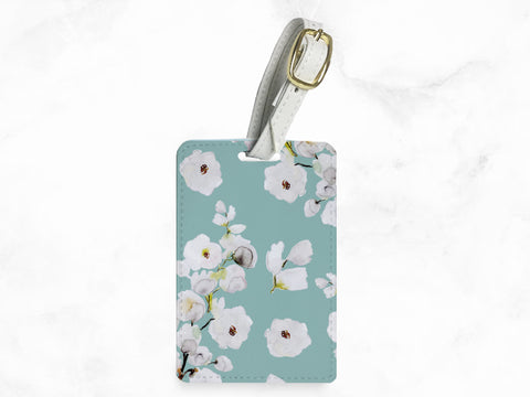Blue Floral Pattern - luggage tag, travel bag tag, name tag, office tag with straps - travel accessories gifts - wedding gifts - T04