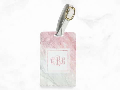 Pink Gray Marble Print - luggage tag, travel bag tag, name tag, office tag with straps - travel accessories gifts - with FREE name monogram -X30