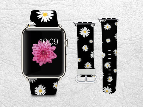 Little Daisy Apple Watch Band, 42mm/38mm Genuine Leather Strap Wrist Band Replacement with Metal Clasp for Apple Watch All Models 42mm/38mm iWatch Strap -P36