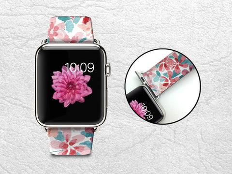 Watercolor Floral Patterns Apple Watch Band, 42mm/38mm Genuine Leather Strap Wrist Band Replacement with Metal Clasp for Apple Watch All Models 42mm/38mm iWatch Strap -P69