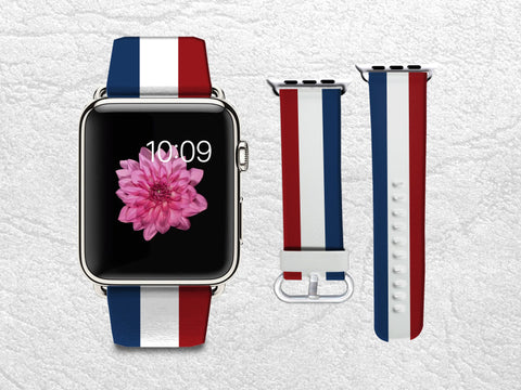 Classic Red Blue White Stripes Apple Watch Band, 42mm/38mm Genuine Leather Strap Wrist Band Replacement with Metal Clasp for Apple Watch All Models 42mm/38mm iWatch Strap -W1