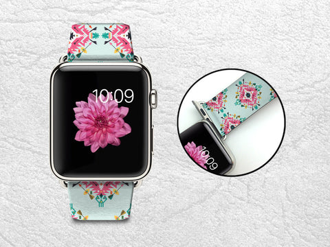 Mint Tribal Style Aztec Patterns Apple Watch Band, 42mm/38mm Genuine Leather Strap Wrist Band Replacement with Metal Clasp for Apple Watch All Models 42mm/38mm iWatch Strap -W4