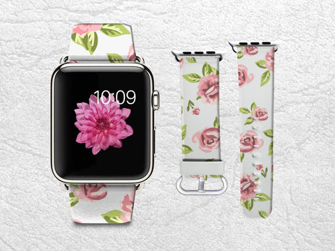 Floral Apple Watch Band, iWatch band Leather Strap Wrist Band Replacement with Metal Clasp 38mm 42mm Adapter - Cute little Pink flowers -W5
