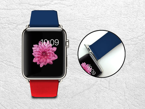 Apple Watch Band, iWatch band Leather Strap Wrist Band Replacement with Metal Clasp 38mm 42mm Adapter connector - Classic Red Blue -W6