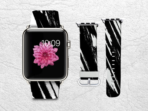 Stylish Apple Watch Band, iWatch band Leather Strap Wrist Band Replacement with Metal Clasp 38mm 42mm Adapter connector - Black & White -W8