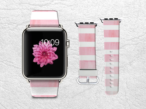 Pink Apple Watch Band, iWatch band Leather Strap Wrist Band Replacement with Metal Clasp 38mm 42mm Adapter - Watercolor Pink stripes -W9