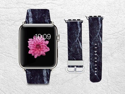 Black Marble Apple Watch Band, 42mm/38mm Genuine Leather Strap Wrist Band Replacement with Metal Clasp for Apple Watch All Models 42mm/38mm iWatch Strap -X07