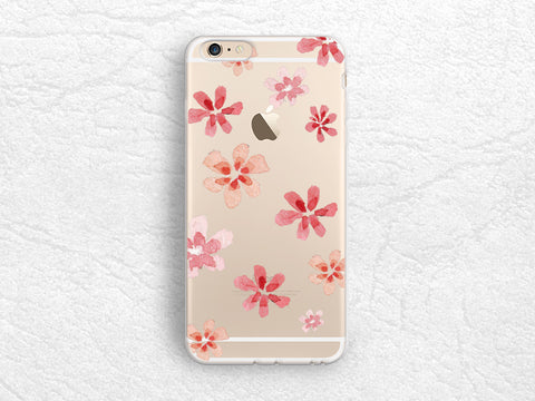 Pink Floral Flowers transparent case for iPhone 7, iPhone X, Google Pixel 2 XL, LG G6, Nexus 5x, Nexus 6P, HTC One M9, Samsung S8 Plus -A44