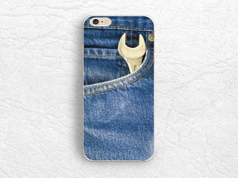 Denim print Blue phone case for iPhone 8 Plus, iPhone X, LG Nexus 5X, LG G6, Samsung S7, S8 Plus, Nexus 6P, Google Pixel 2 XL, Sony Z5 compact -X24