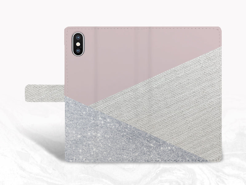 b6232893f6944 Weave Fabric Pattern PU Leather Wallet Cover Flip Case for iPhone X ...
